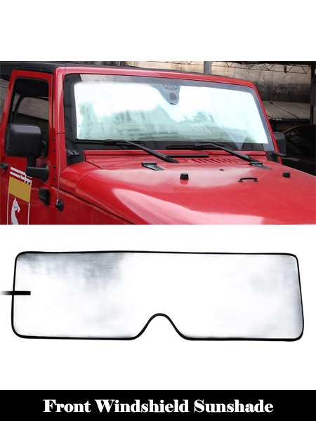 Front Windshield Sunshade Sun shade for 2007-2017 Jeep Wrangler JK MINGLI Heat Shield Windshield Custom-fit Sunshade Sun Visor Mat-Top 10 Best Windshield Sun Shades for Cars Reviews