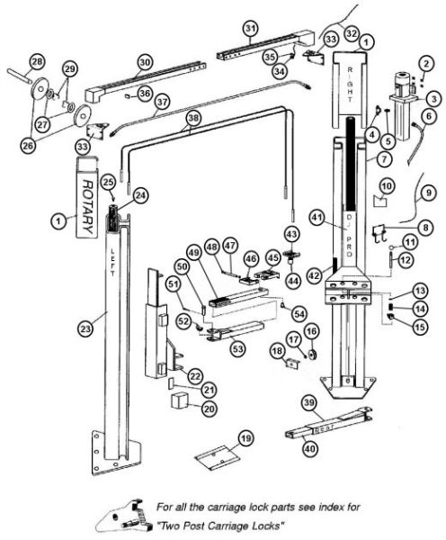 Parts Breakdown for Rotary model A10i 2 Post Lift (SVI