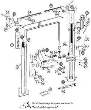 Parts Breakdown for Rotary model A10i 2 Post Lift (SVI