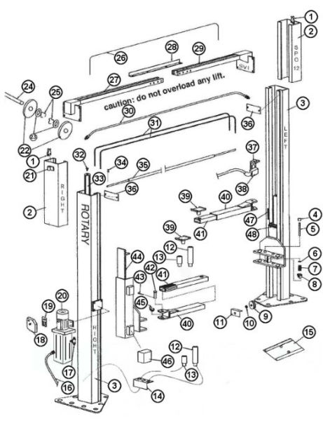 Parts Breakdown for Rotary model SPO12 Lift (SVI