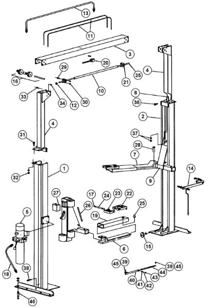 Parts Breakdown for Rotary Lift model SPO84 (SVI