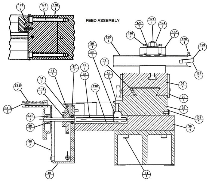 Brake Lathe Parts Breakdown, for Accuturn model 8922, Feed