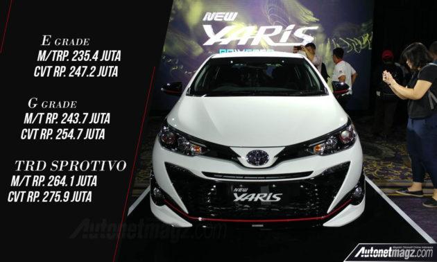 all new toyota yaris trd sportivo 2018 cvt facelift meluncur harga naik tipis autonetmagz dan untuk varian tertinggi yaitu dilepas dengan banderol 264 1 juta manual 275 9 rupiah