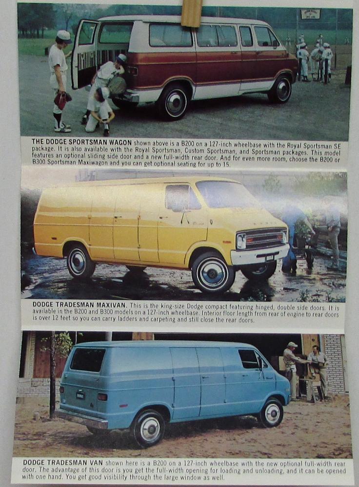 1975 Dodge Tradesman Van : dodge, tradesman, Dodge, Sportsman, Tradesman, Maxivan, Sales, Folder, Color, Original