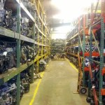 Engines on racks in warehouse