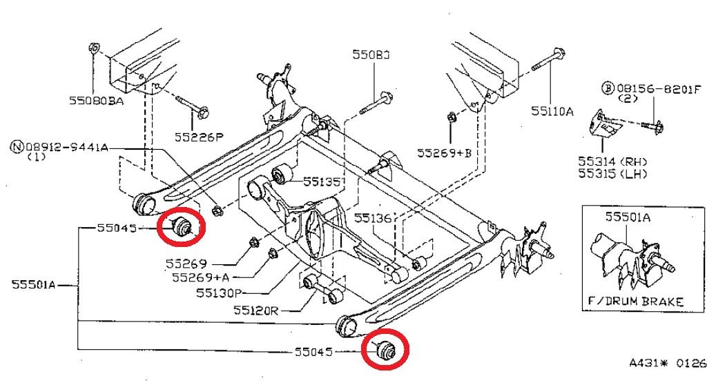 2 Rear Axle Arm Rod Crossmember Bushing Left Right For