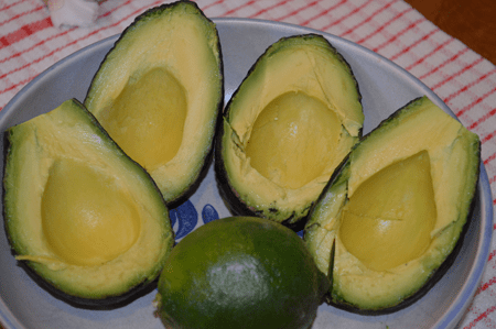 halved avacados and lime