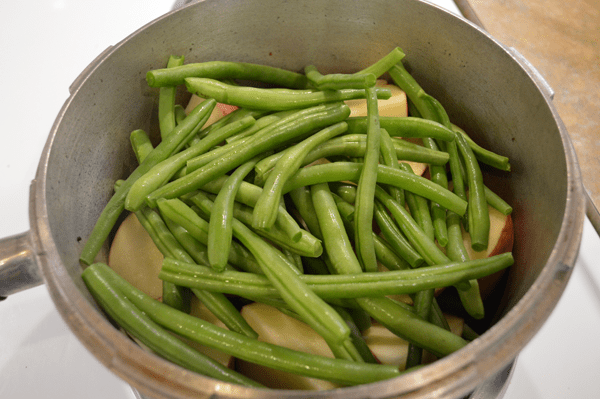 grannie geek, second layer of green beans over potatoes