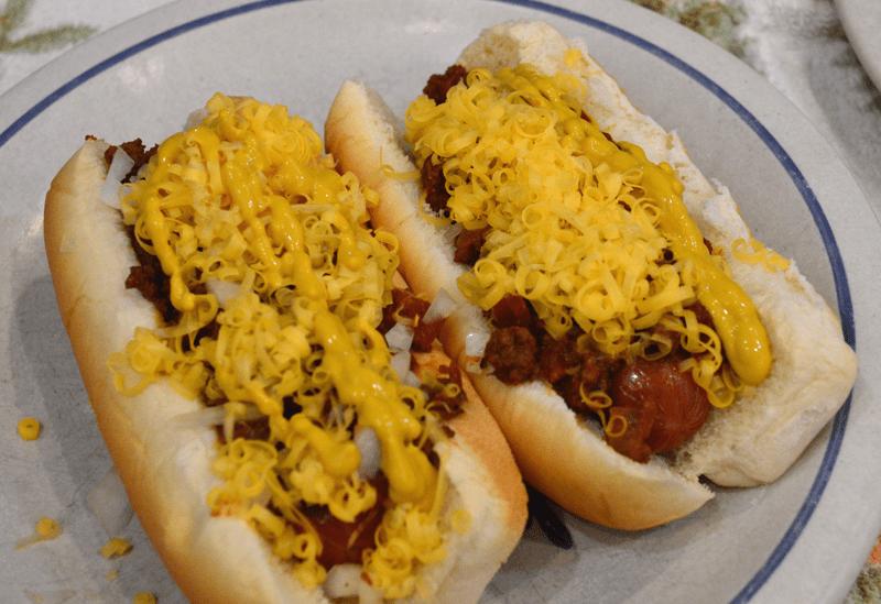 grannie geek, chili cheese dogs