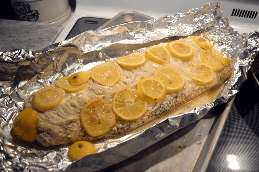 at mimi's table baked salmon with mayo mustard onions and lemon