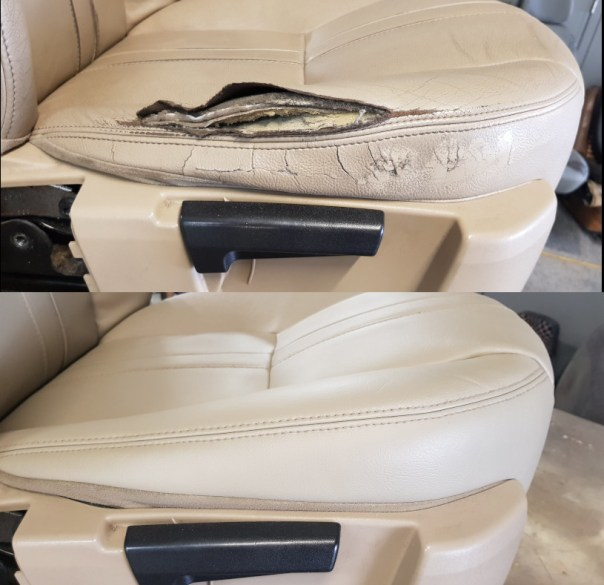 Leather Seat Repair Before and After