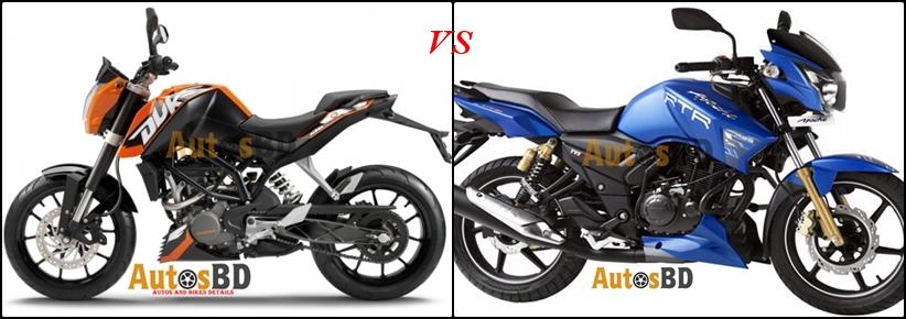Comparison KTM Duke 150 vs TVS Apache RTR 150 Matte Blue Edition