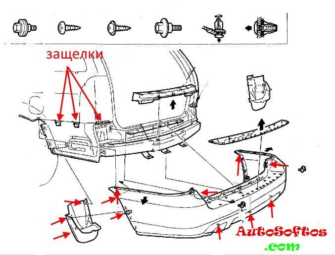 Как снять передний и задний бампер Acura MDX (2001-2006