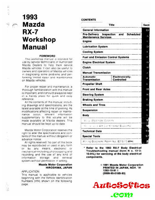 Workshop Manual Mazda RX-7 1993 г. » AutoSoftos.com