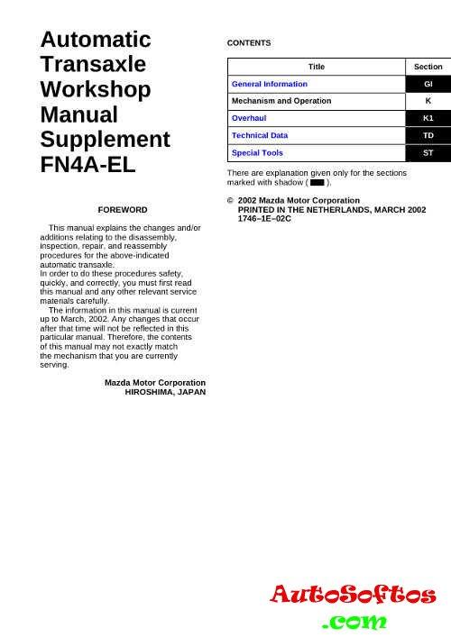 Automatic Transaxle Workshop Manual FN4A-EL » AutoSoftos