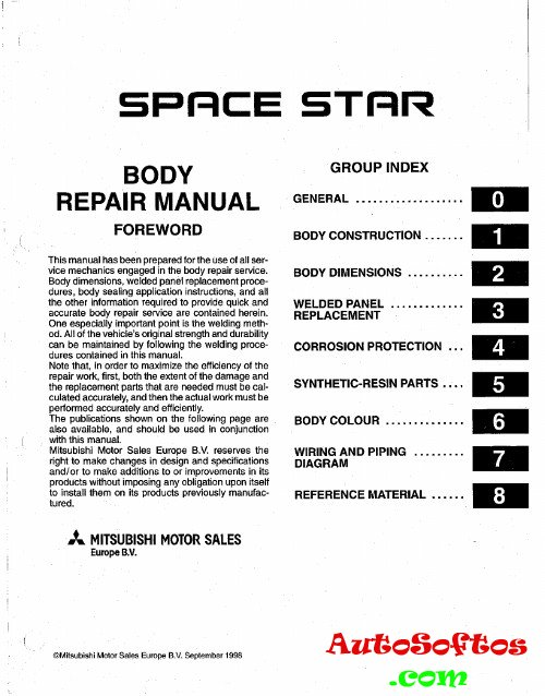 Body Repair Manual Mitsubishi Space Star 1999 г