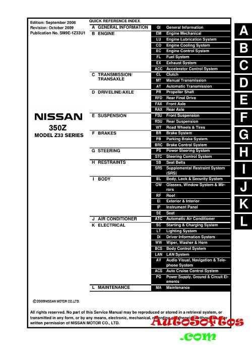 Service Manual Nissan 350Z 2003-2009 г. » AutoSoftos.com