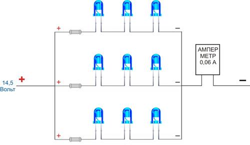 Одна из схем подключения светодиодов