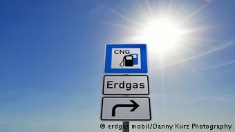 Указатель на немецкую заправку для автомобилей, работающих на природном газе