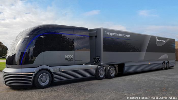 Прототип беспилотного водородного грузового автомобиля южнокорейской компании Hyundai