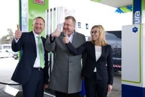 Церемония начала продажи нового биотоплива.