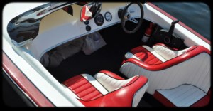 Interior of a red and white boat