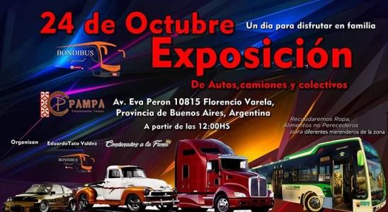 Exposición solidaria de autos, colectivos y camiones.