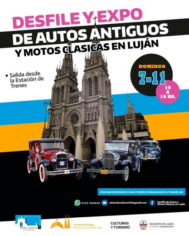 Desfile y expo de autos y motos clásicas en Luján.
