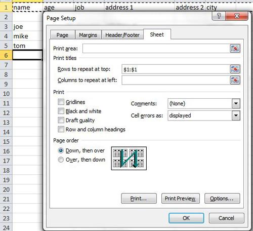 Как отобразить верхнюю строку на каждой странице в Excel 2010