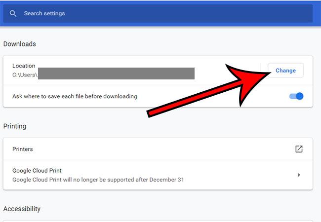Как изменить папку загрузки в Google Chrome