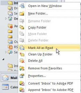 Отметить все сообщения как прочитанные в Outlook 2010