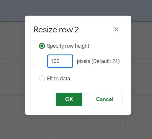 Как изменить высоту строки в Google Таблицах