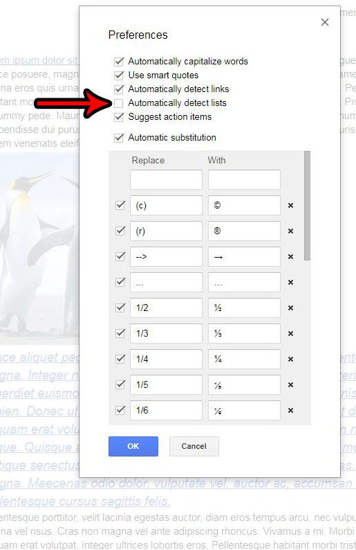 Как отключить автоматическое определение списка в Google Документах