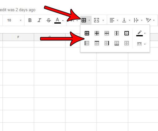 Как добавить границы в Google Таблицы