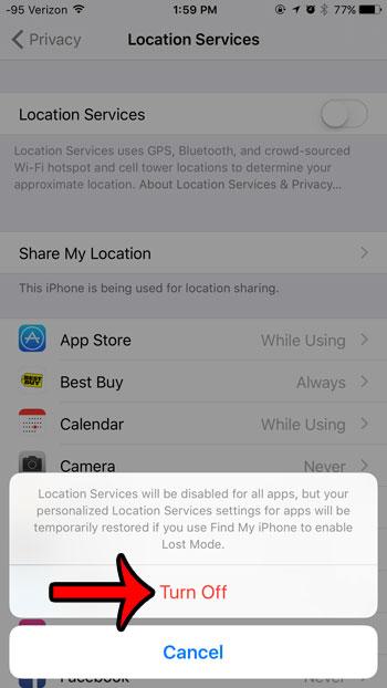 Как отключить службы геолокации на iPhone 6