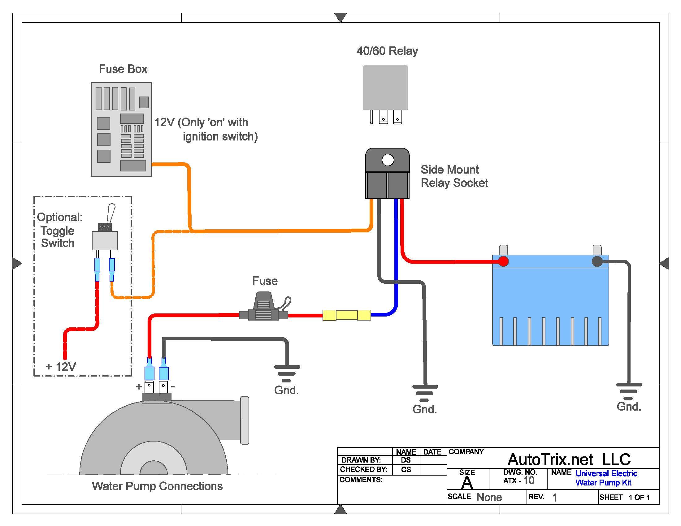 Universal Electric Water Pump Relay Kit