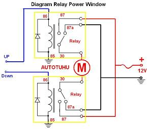 Wiring Diagram Relay Power Window |Rangkaian Relay power