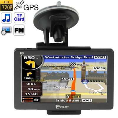 E500 + zwart, 5,0 inch TFT touchscreen auto GPS-navigator, ondersteuning in TF-kaartsleuven, FM-zender met 8 GB geheugen en kaart