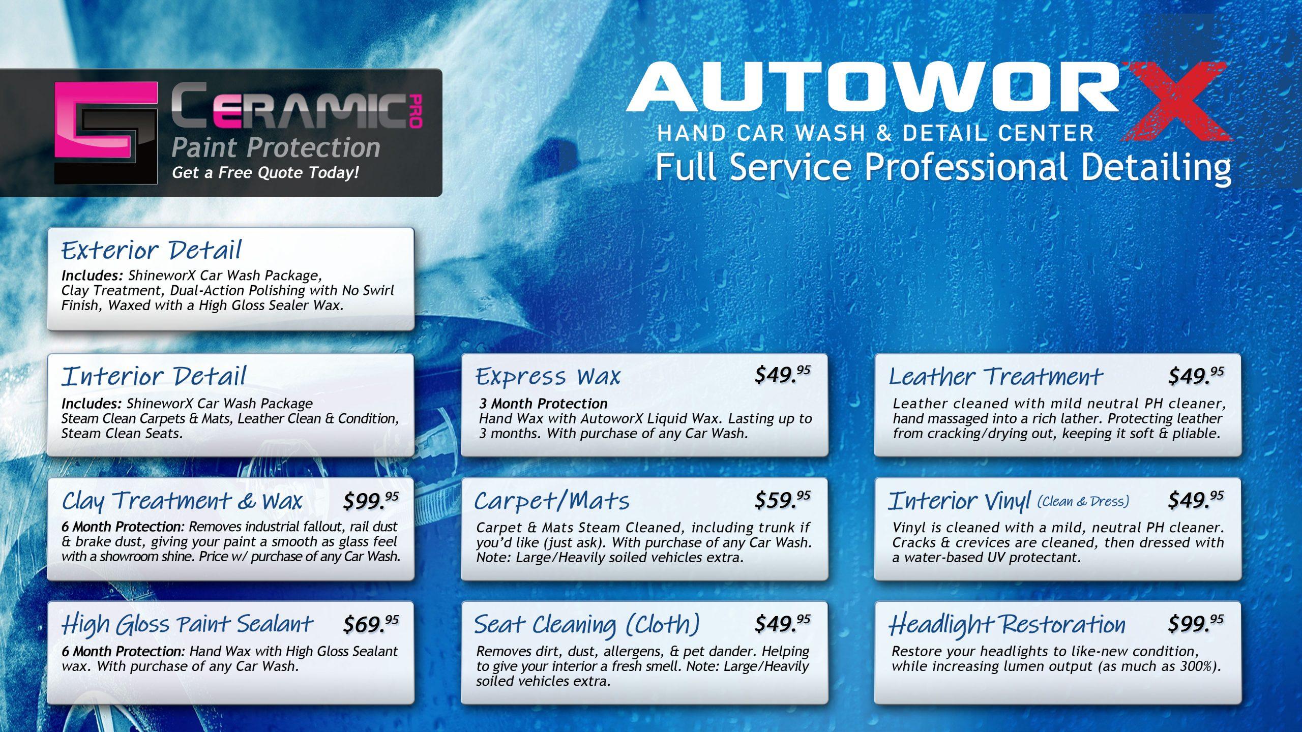 AutoworX Detailing Myrtle Beach SC Detailing Prices