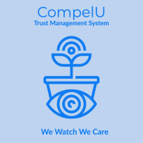 """Logo of CompelU Reads """"CompelU Trust Management System - We watch we care"""" graphic of plant with an eye"""