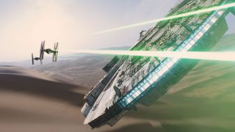 This is an image of the Star fighter trying to escape the Rebel ships.