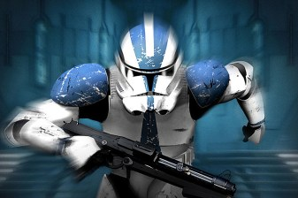 Strom Trooper with blue accents is running from unknown enemies.