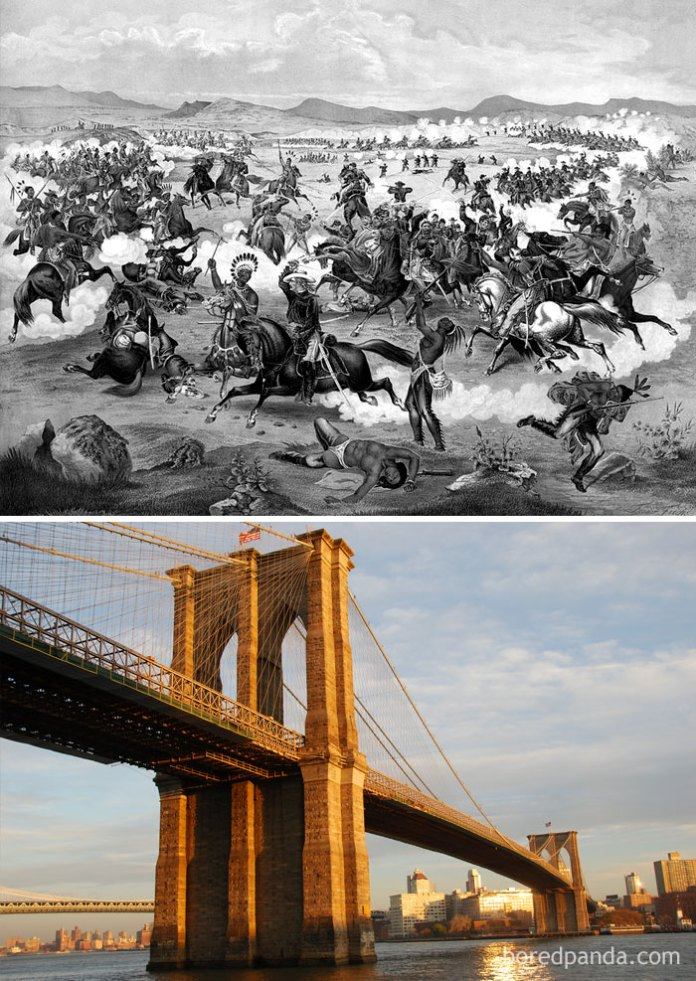 The Brooklyn Bridge Was Being Built During The Battle Of Little Bighorn (1876)