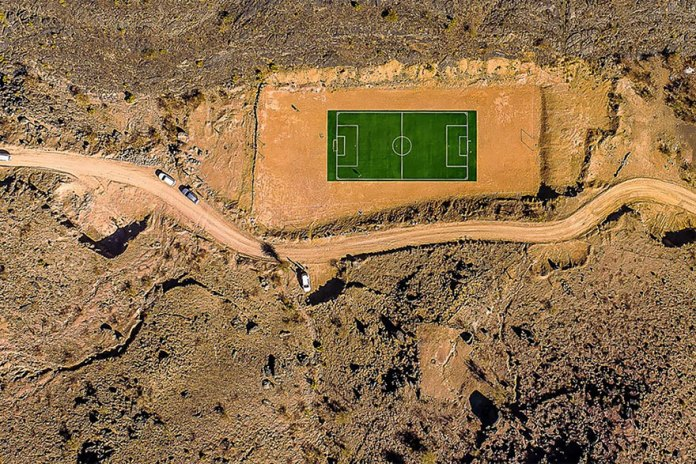 Football Pitch In The Middle Of The Jabal Mountains In Oman