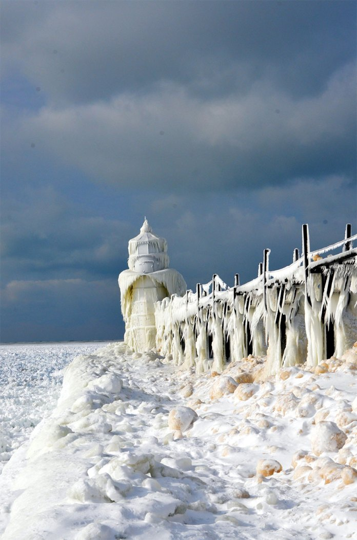 light house covered with ice