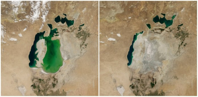 Aral Sea, Central Asia. August 2000- August 2014