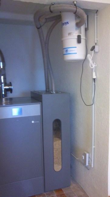 chaudière à granulé domusa avec système d'aspiration sur silo