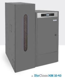 BIOCLASS HM DE 10 KW À 132 KW chaudière à granulé avec réservoir de 195 litres ou 350 litres CLASSE 5 DE LA NORME NF EN 303.5