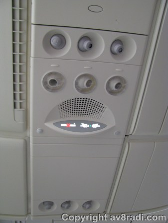 A/C and 'No Smoking' + 'Seat belts' signs