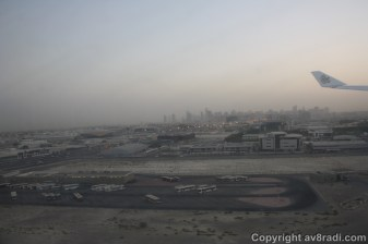 Over the DXB threshold…. Notice the airport buses parked below